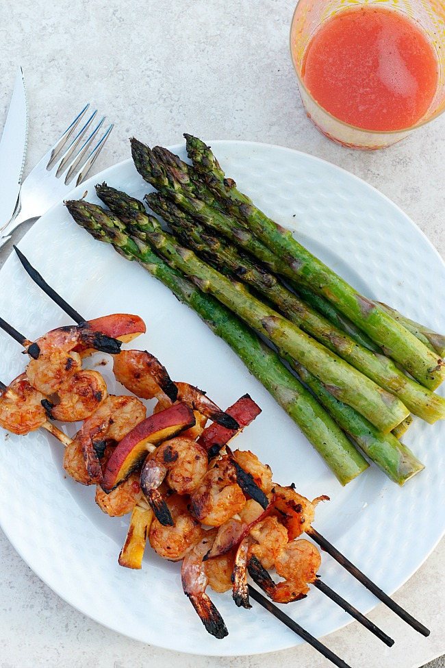 Grilled Thai Shrimp and Peaches | Fabtastic Eats