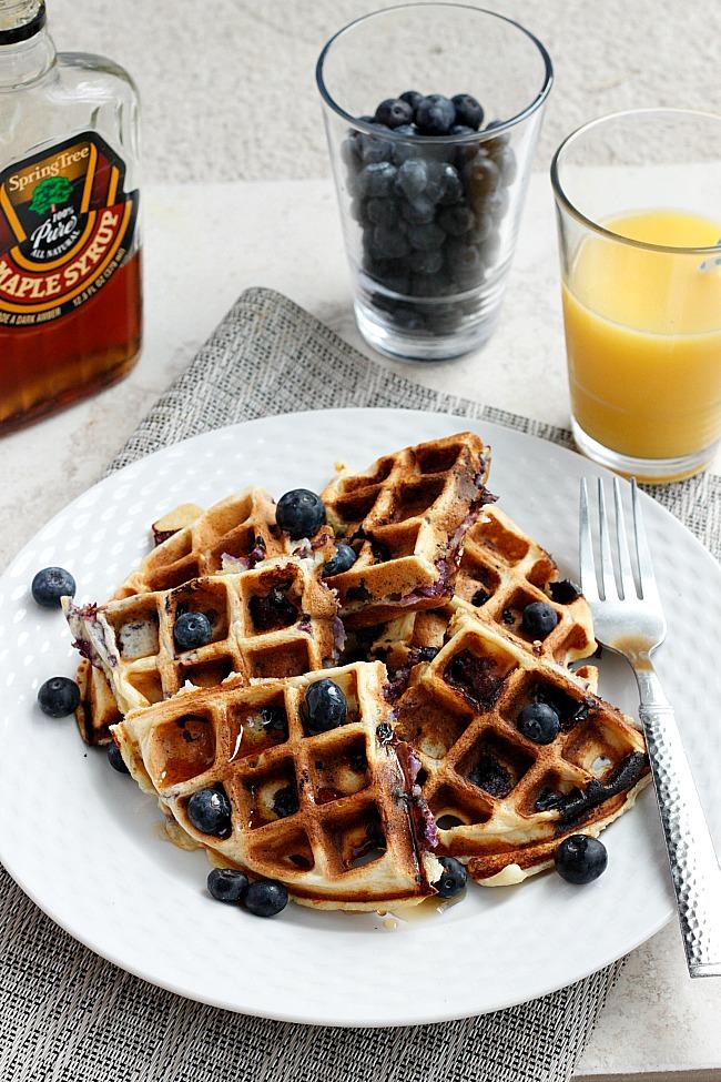 Blueberry Ricotta Waffles | Fabtastic Eats