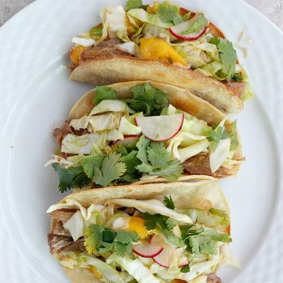 Thai Pork Tacos with Mango Radish Slaw