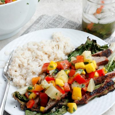 Grilled Pork Salad with Fruit Salsa and Coconut Rice