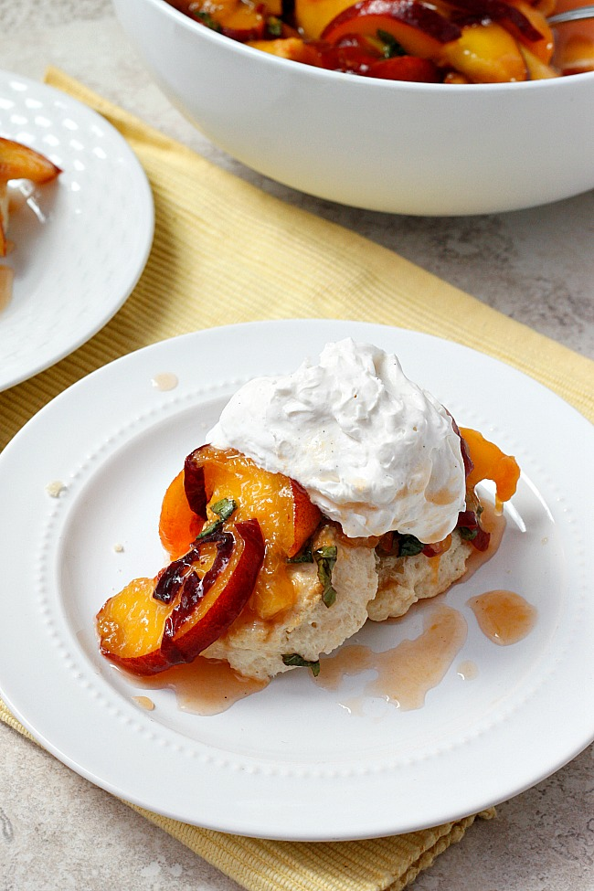 Peach and Basil Shortcakes with Vanilla Bean Whipped Cream | Fabtastic Eats