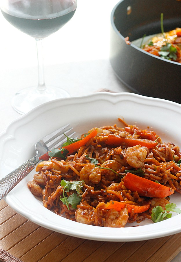 Spicy Chinese Shrimp and Sweet Potato Noodles | Fabtastic Eats