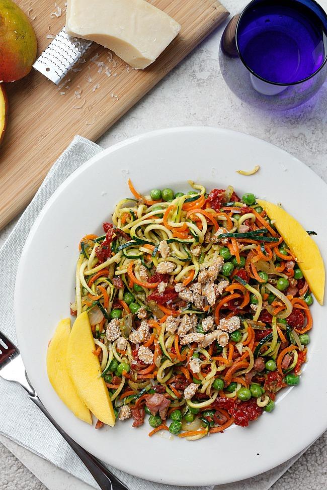 Pancetta & Sweet Pea Zucchini Noodles | Fabtastic Eats