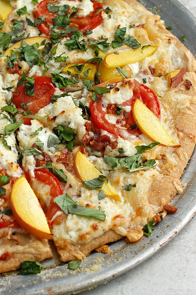 Three Cheese Peach and Pancetta Pizza