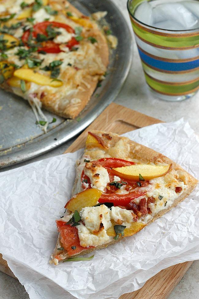Three Cheese Peach and Pancetta Pizza