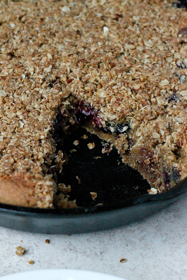 Blueberry Chocolate Skillet Cookie (with streusel!) | Fabtastic Eats