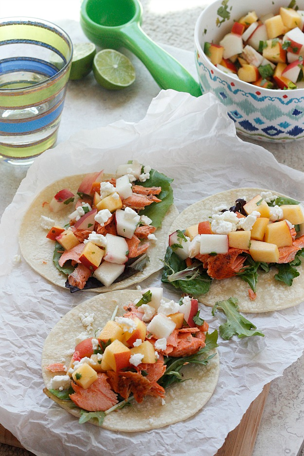 Spicy Salmon Tacos with Peach Salsa | Fabtastic Eats