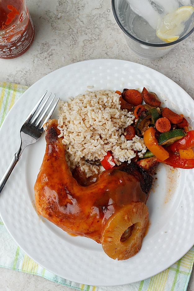 Pineapple Sriracha Glazed Chicken Quarters| Fabtastic Eats