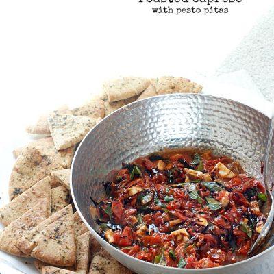 Roasted Caprese with Pesto Toasted Pitas