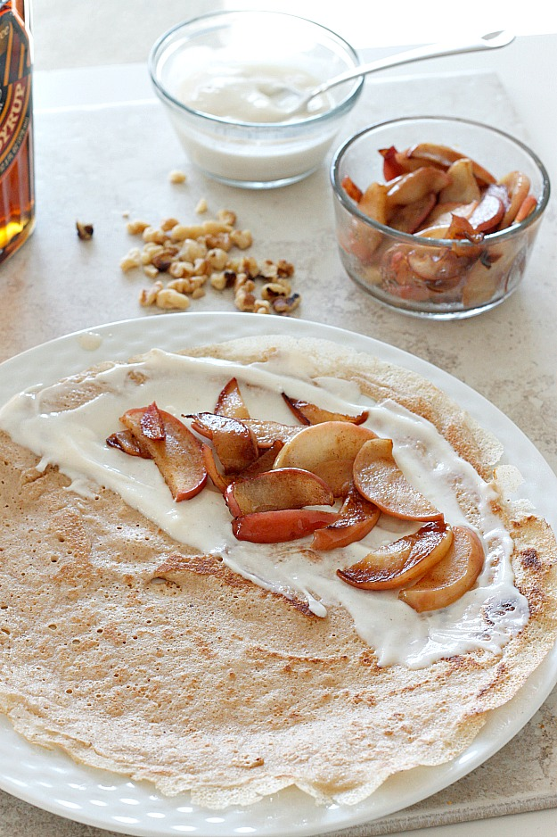 Maple Walnut Crepes with Caramelized Apples | Fabtastic Eats