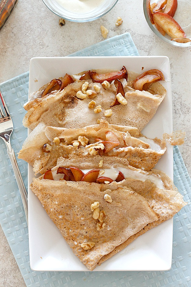 Maple Walnut Crepes with Caramelized Apples