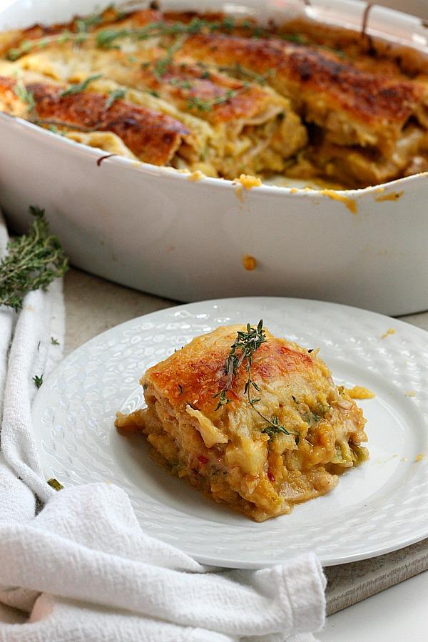 Apple, Pumpkin, and Spicy Sausage Lasagna | Fabtastic Eats