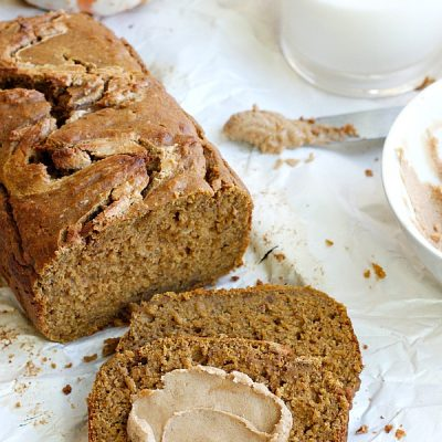 Healthy Pumpkin Bread with Cinnamon Cashew Butter