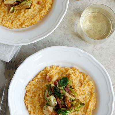 Butternut Squash Risotto with Pancetta and Brussels Sprouts