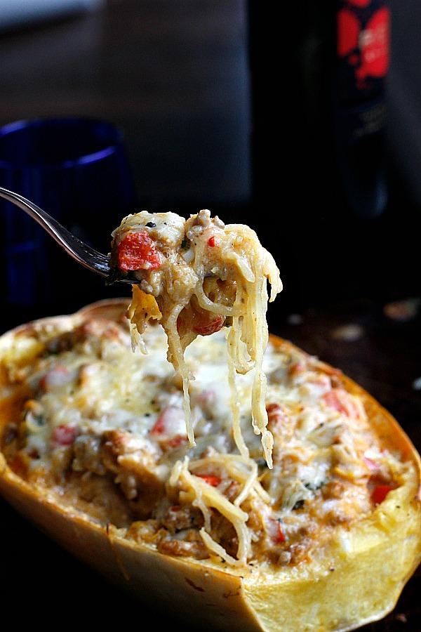 Pumpkin-Spaghetti Squash Mac and Cheese Boats | Fabtastic Eats