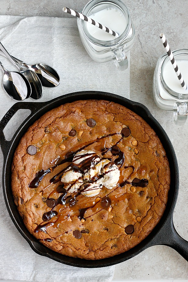 Dark Chocolate, Pumpkin Butter, & Butterscotch Skillet Cookie | Fabtastic Eats