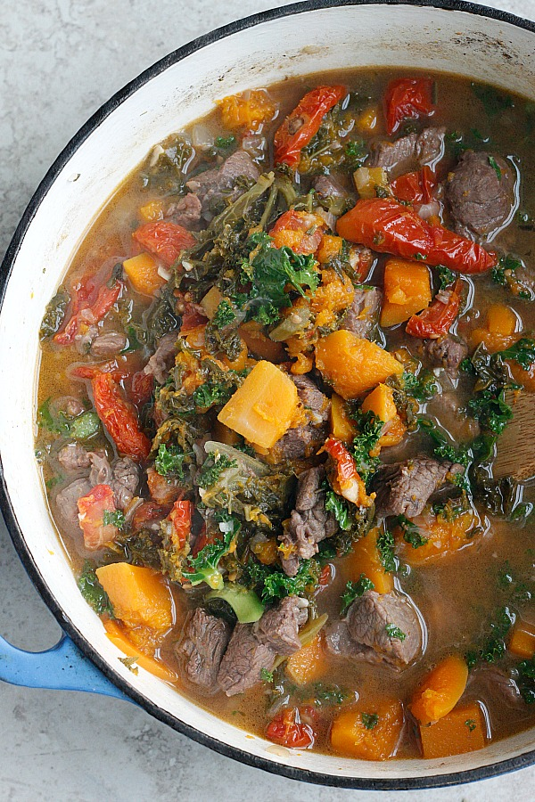 Butternut Squash and Kale Beef Stew | Fabtastic Eats