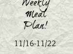 Meal Plan 11/16-11/22