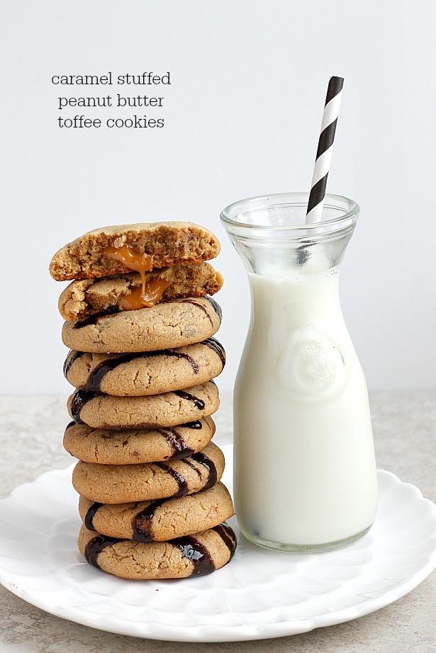 Caramel Stuffed Tofee Peanut Butter Cookies| Fabtastic Eats