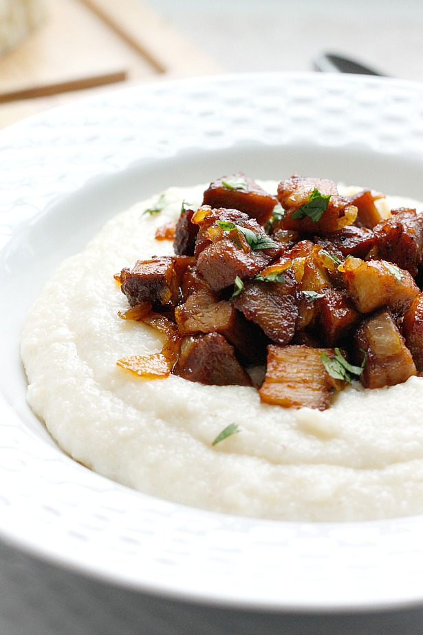 Smoky Barbecue Ribs over Cheesy Grits | Fabtastic Eats