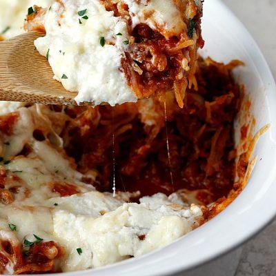 Cheesy Sausage and Spaghetti Squash Bake