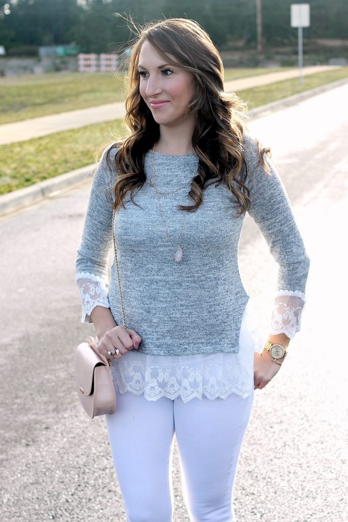 Grey Lace Trimmed Sweater | Day to Night