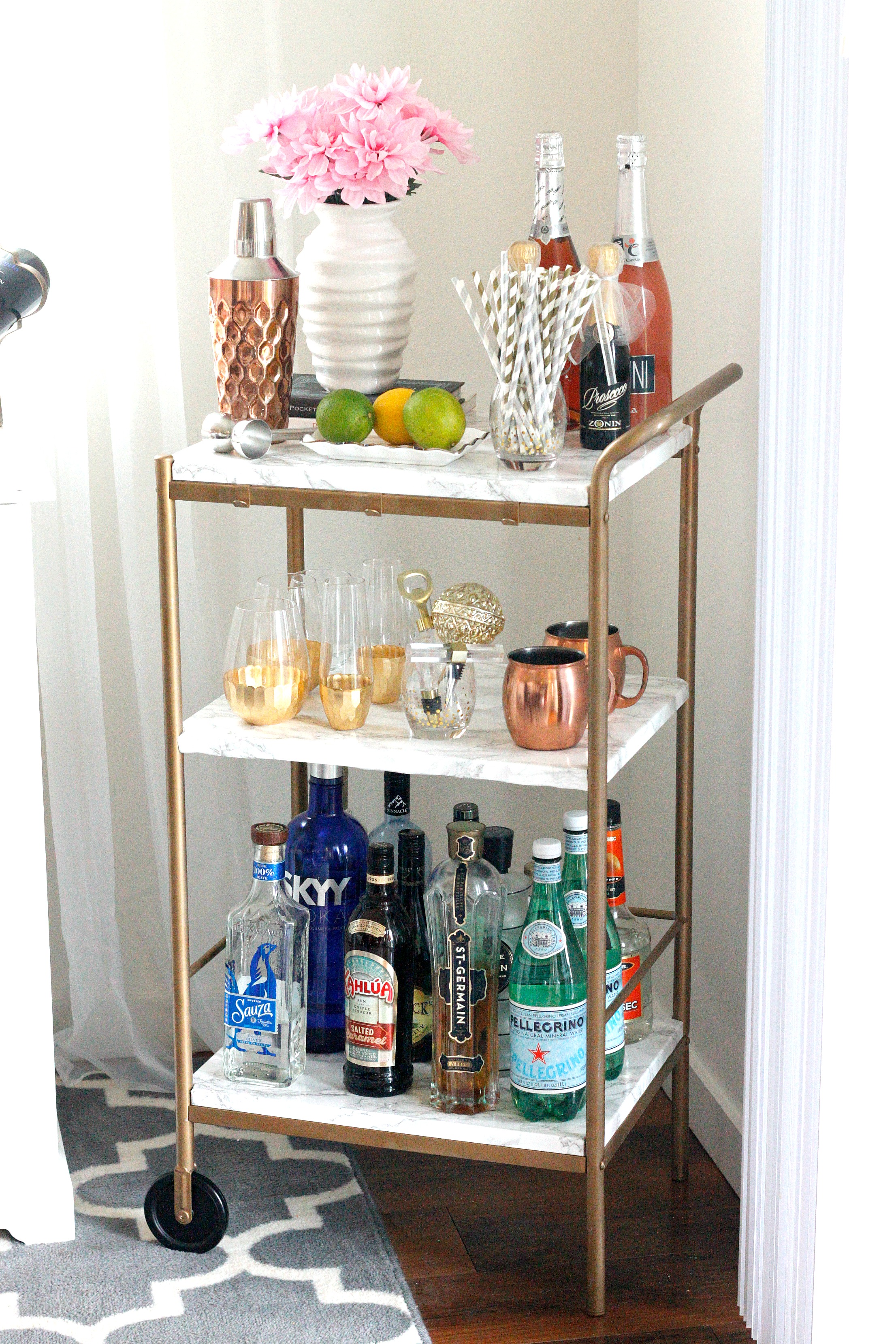 Diy Marble Gold Bar Cart For Under 10 Belle Vie