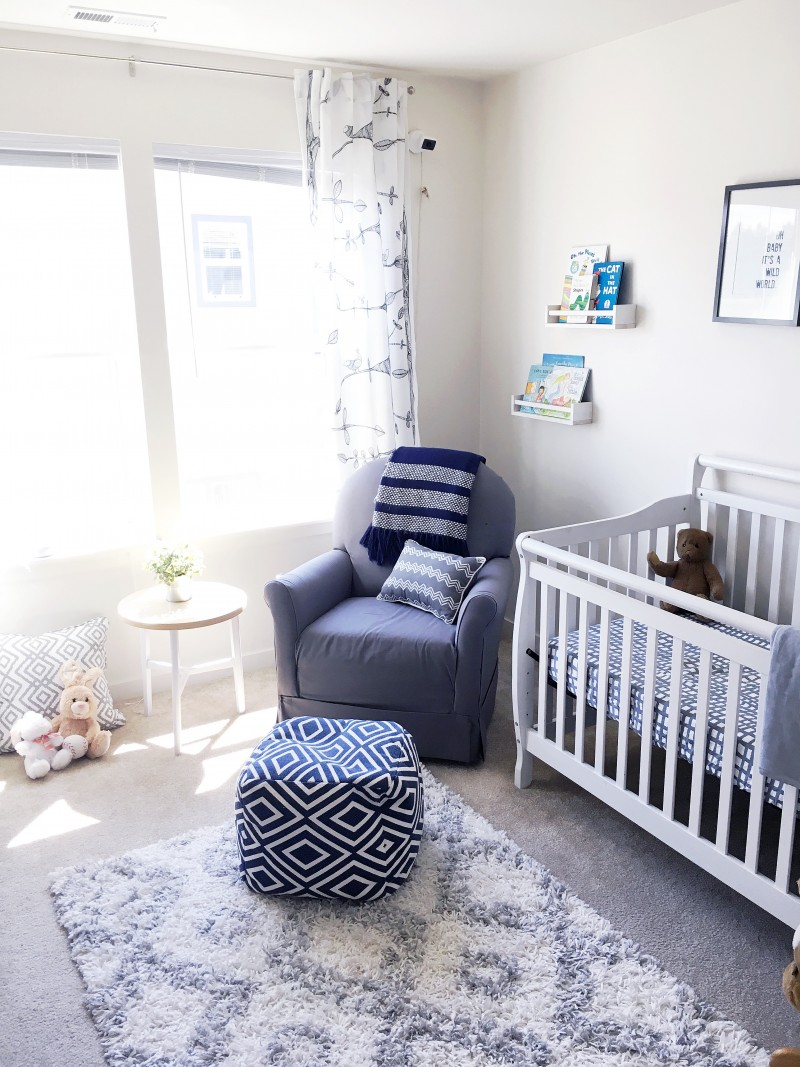 Belle vie baby b 39 s grey white nursery belle vie for Blue and white boys room