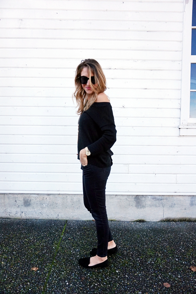 When in doubt, All black (& a round up of open-back sweaters!)